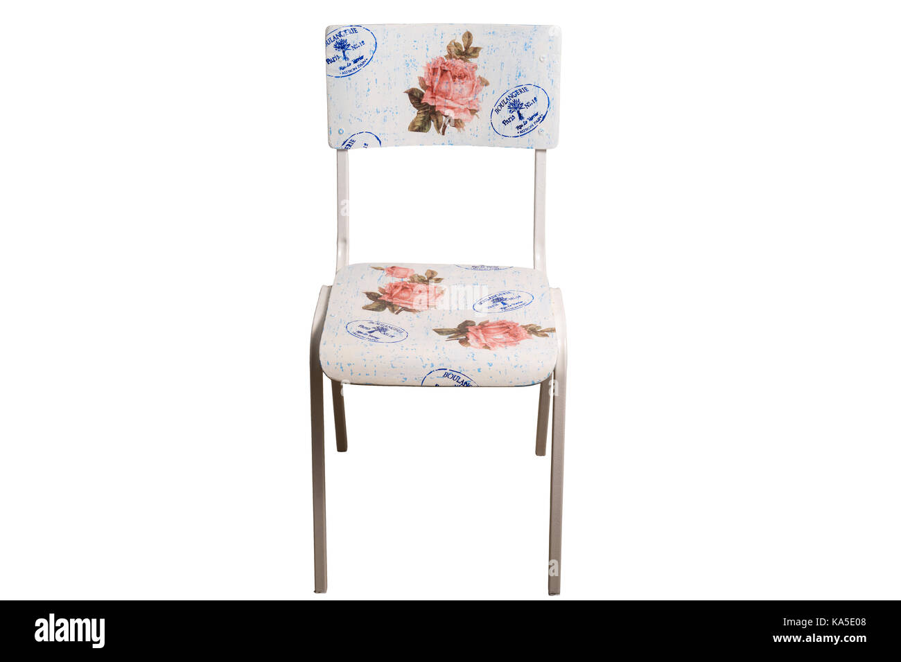 Vintage school chair decorated with decoupage technique. Isolated on white background. Stock Photo
