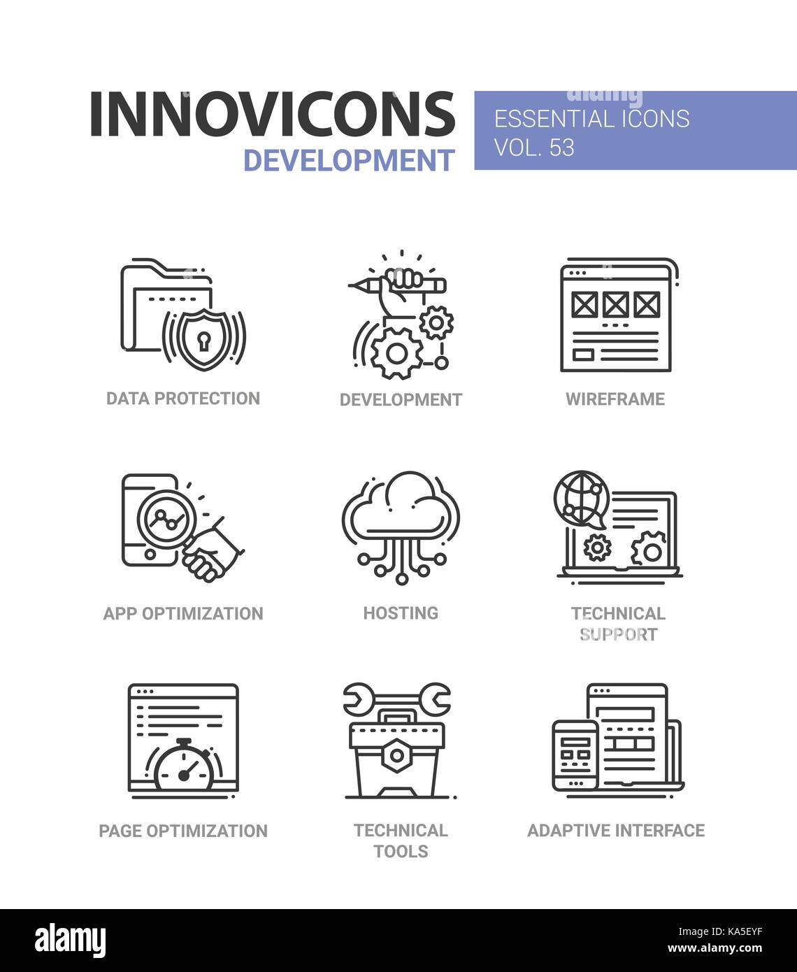 Web Page Development - modern essential vector line design icons set ...