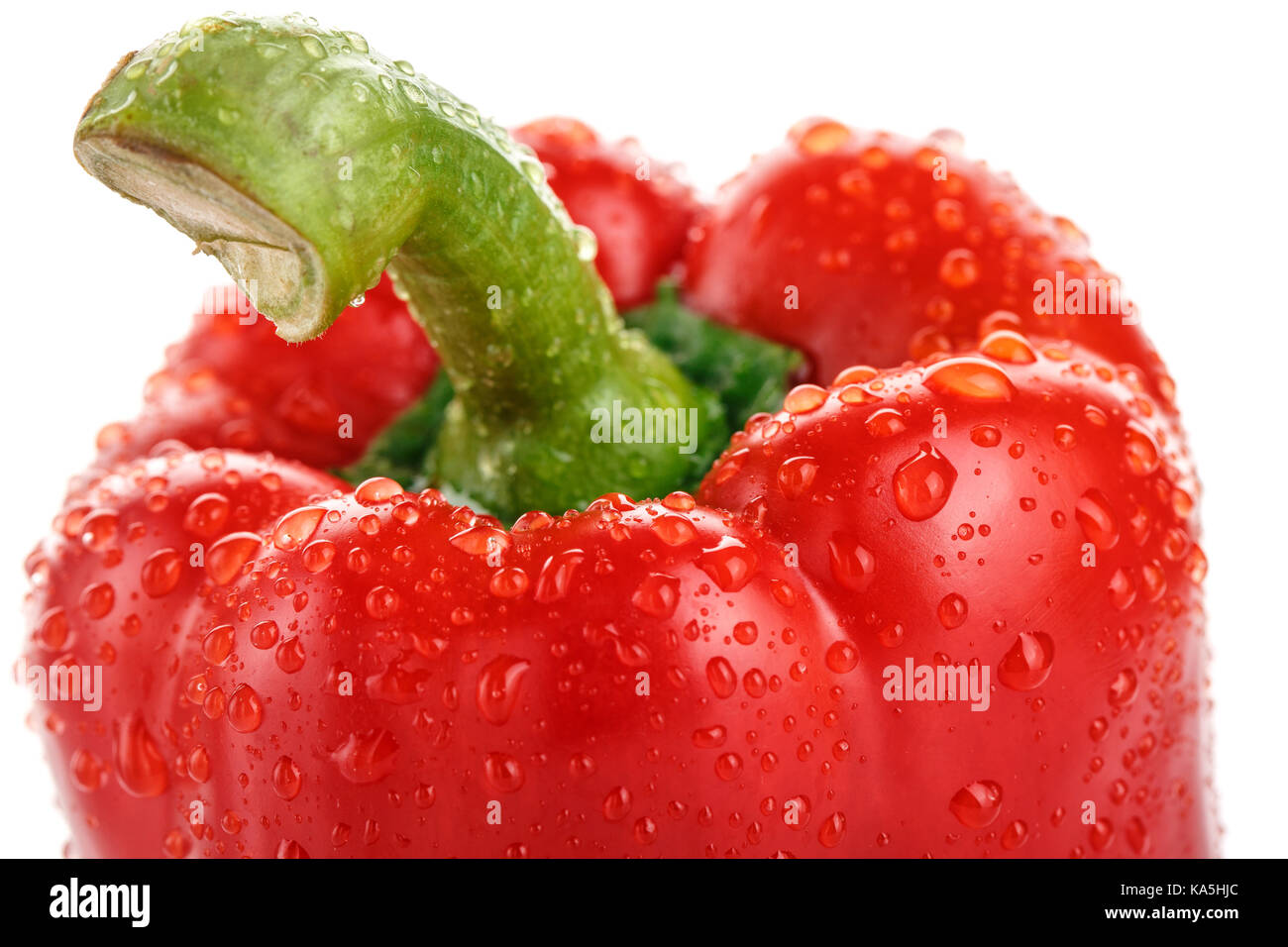 The head of ripe red pepper with drops of water. Stock Photo