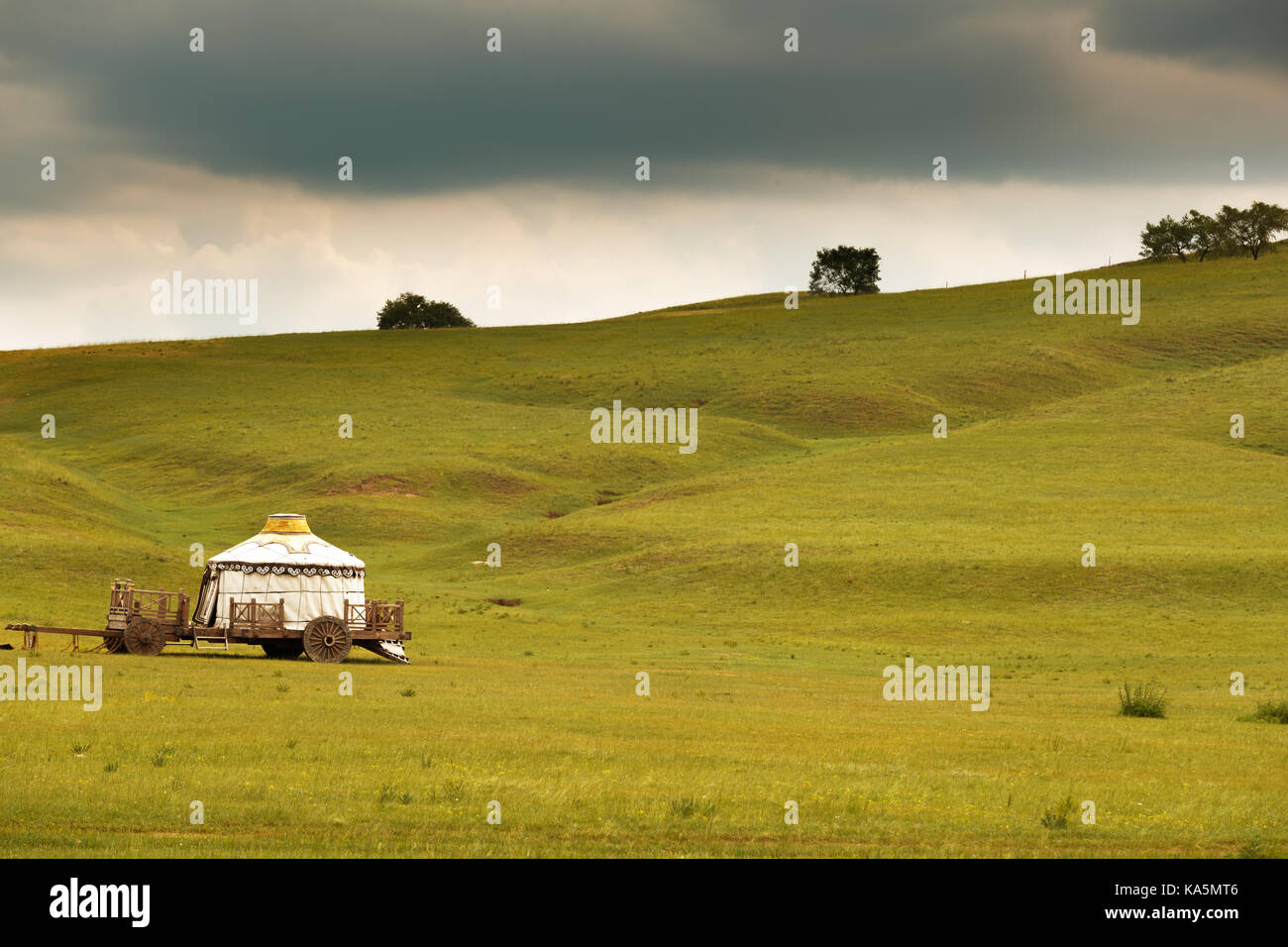 The grasslands and rivers of Inner Mongolia - Stock Image