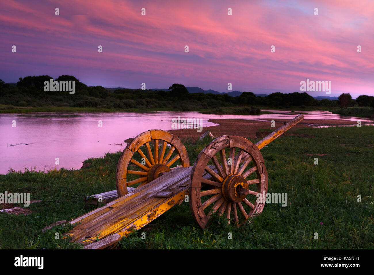 Old and abandoned horse cart and the grasslands of Inner Mongolia - Stock Image