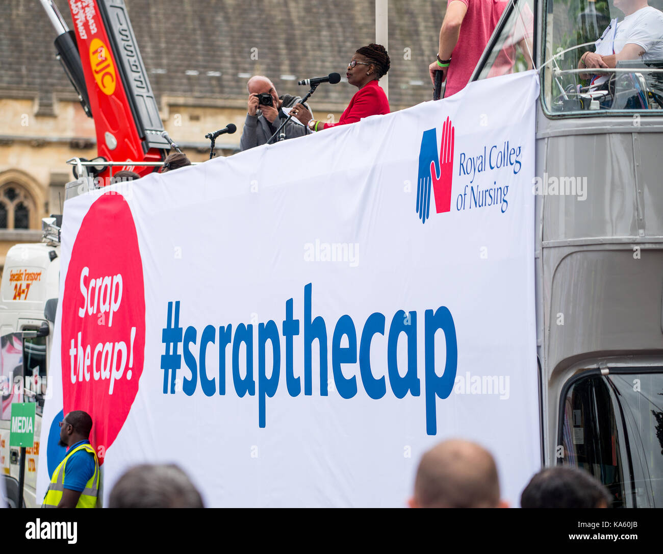 Scrap The Cap Protest - Thousands of nurses gather at Parliament Square in London, to campaign against the government's - Stock Image