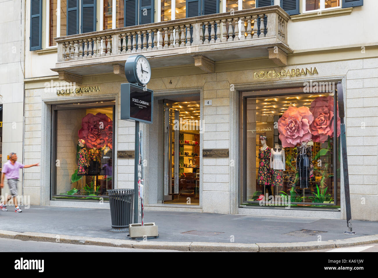 Milan, Italy - August 10, 2017: Montenapoleone street, with many famous shops. Dolce & Gabbana shop. Concept - Stock Image