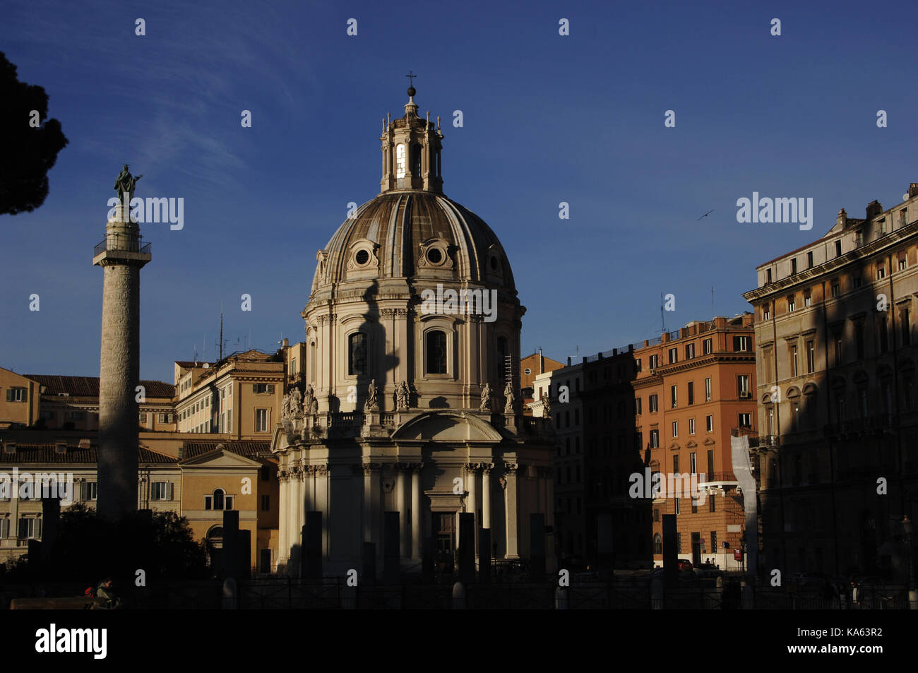 Italy. Rome. Saint Maria di Loreto Church (16th century), designed by Antonio da Sangallo the younger and Trajan's - Stock Image