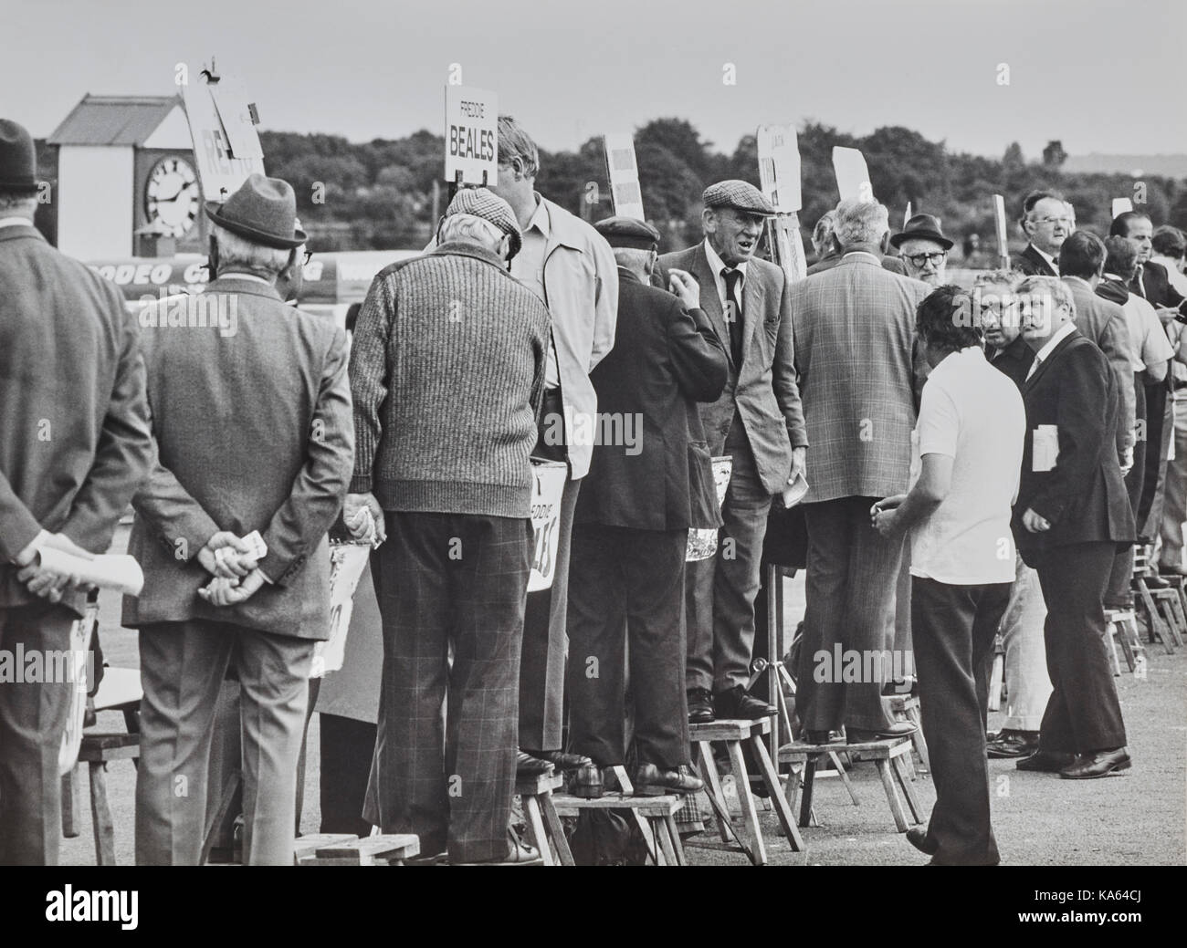 Bookies at Sandown Park in 1983 - Stock Image