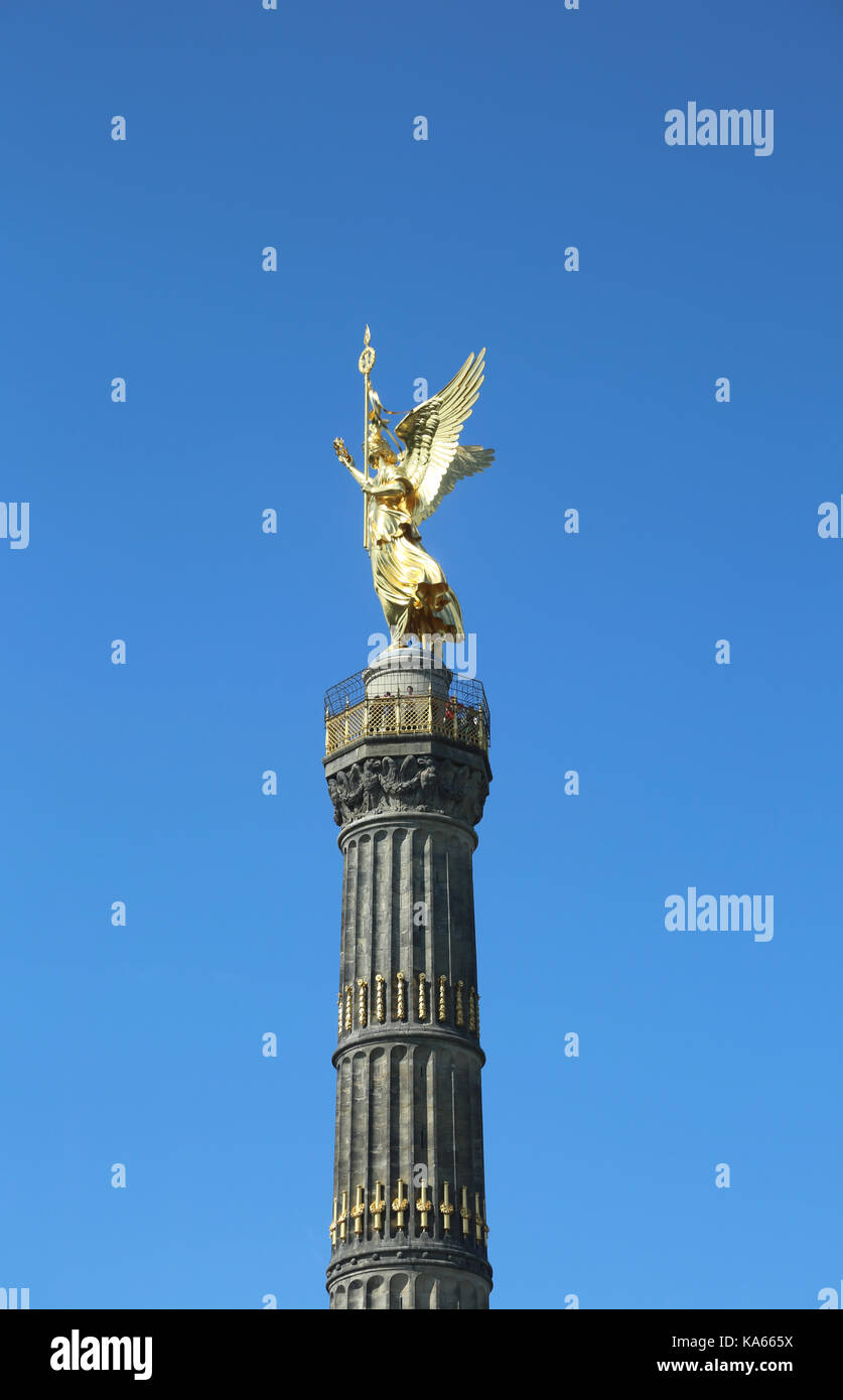 Victory Column is a famous monument in Berlin, Germany  to commemorate the Prussian victory in the Danish-Prussian - Stock Image