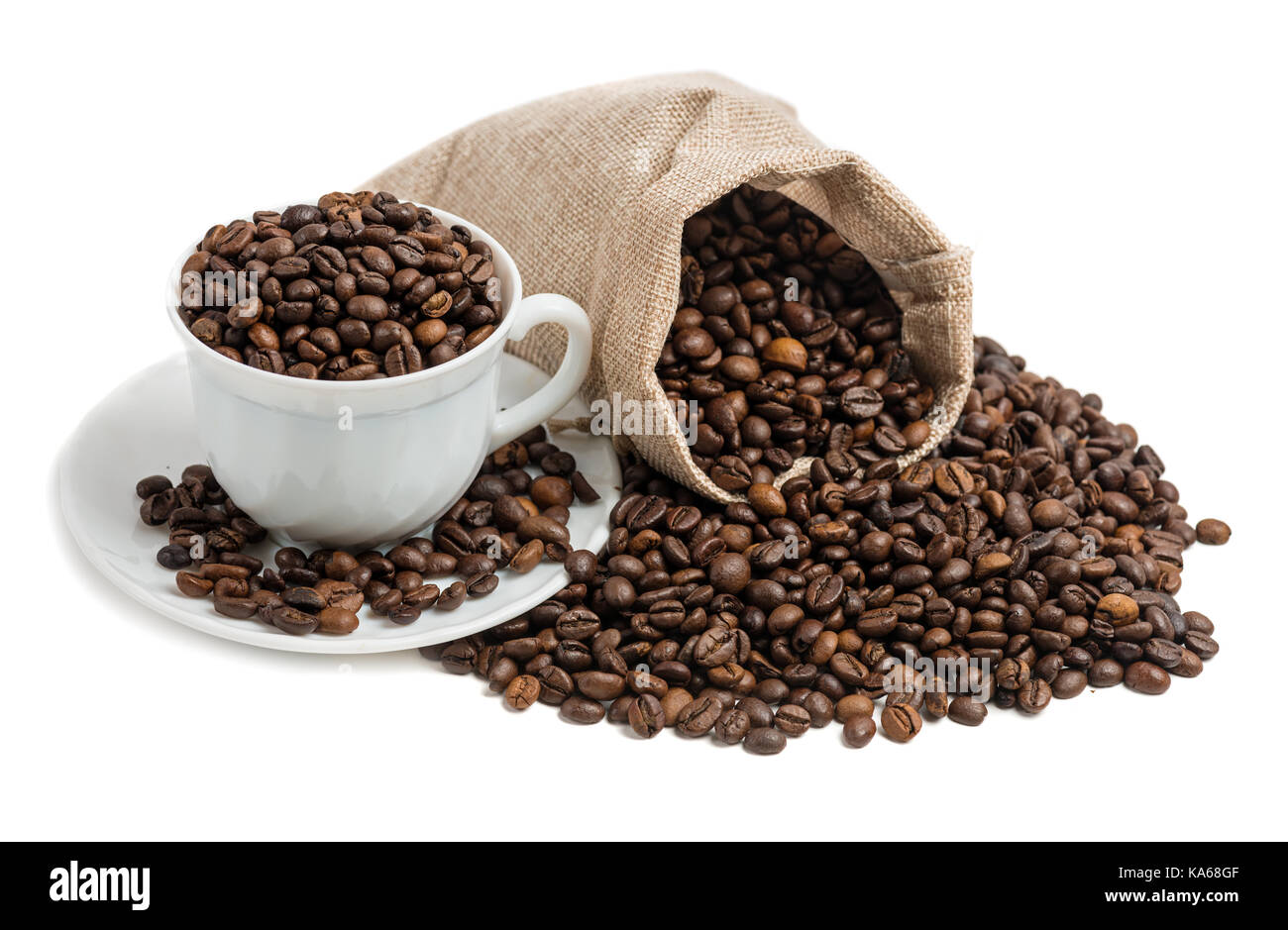 Coffee cup and beans on a white background - Stock Image