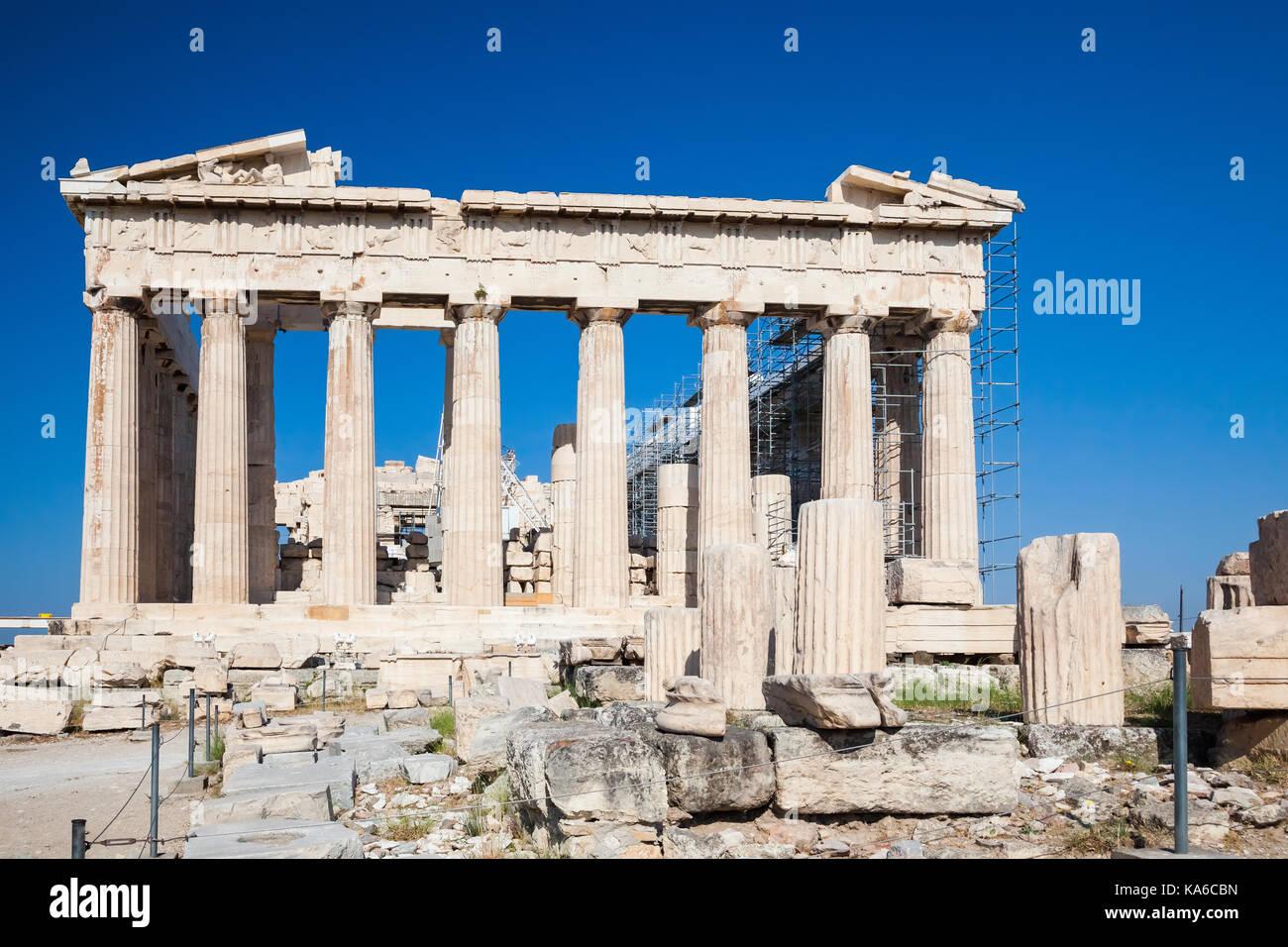 Parthenon in Acropolis of Athens, Greece - Stock Image