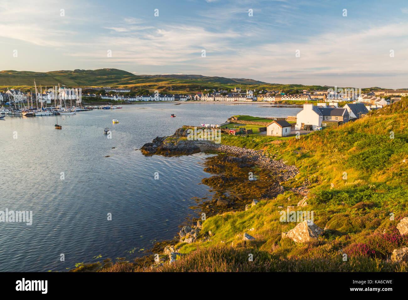 View over Port Ellen in evening light, Islay, Scottland - Stock Image