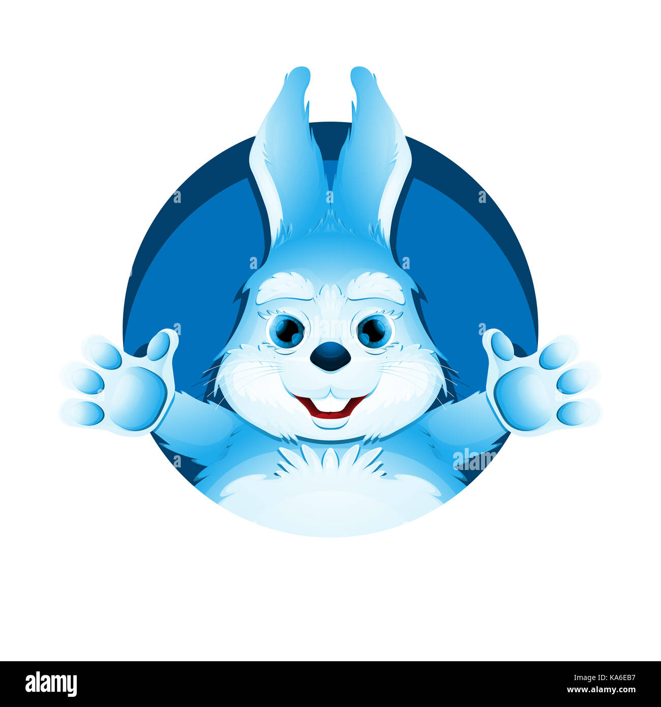 Avatar of cute blue bunny. Portrait of funny rabbit for user profile picture. Stock Photo