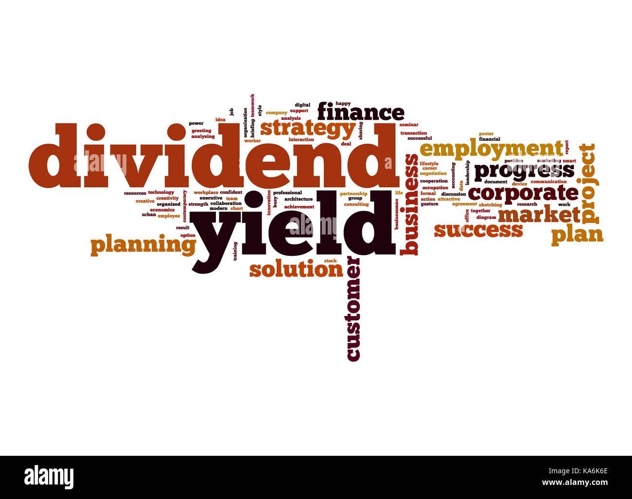 Dividend yield word cloud - Stock Image