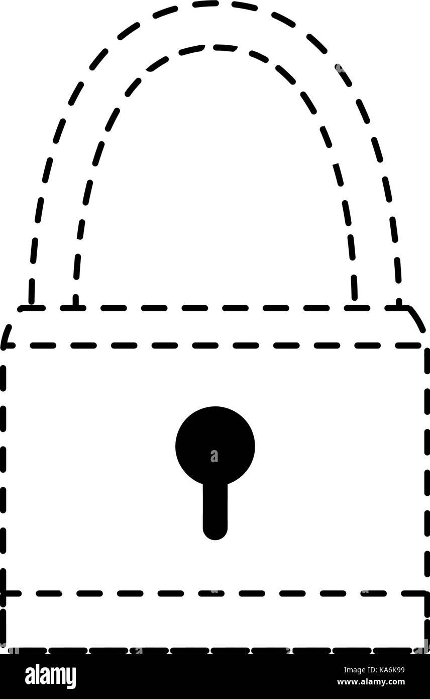 dotted shape padlock object security symbol design - Stock Image