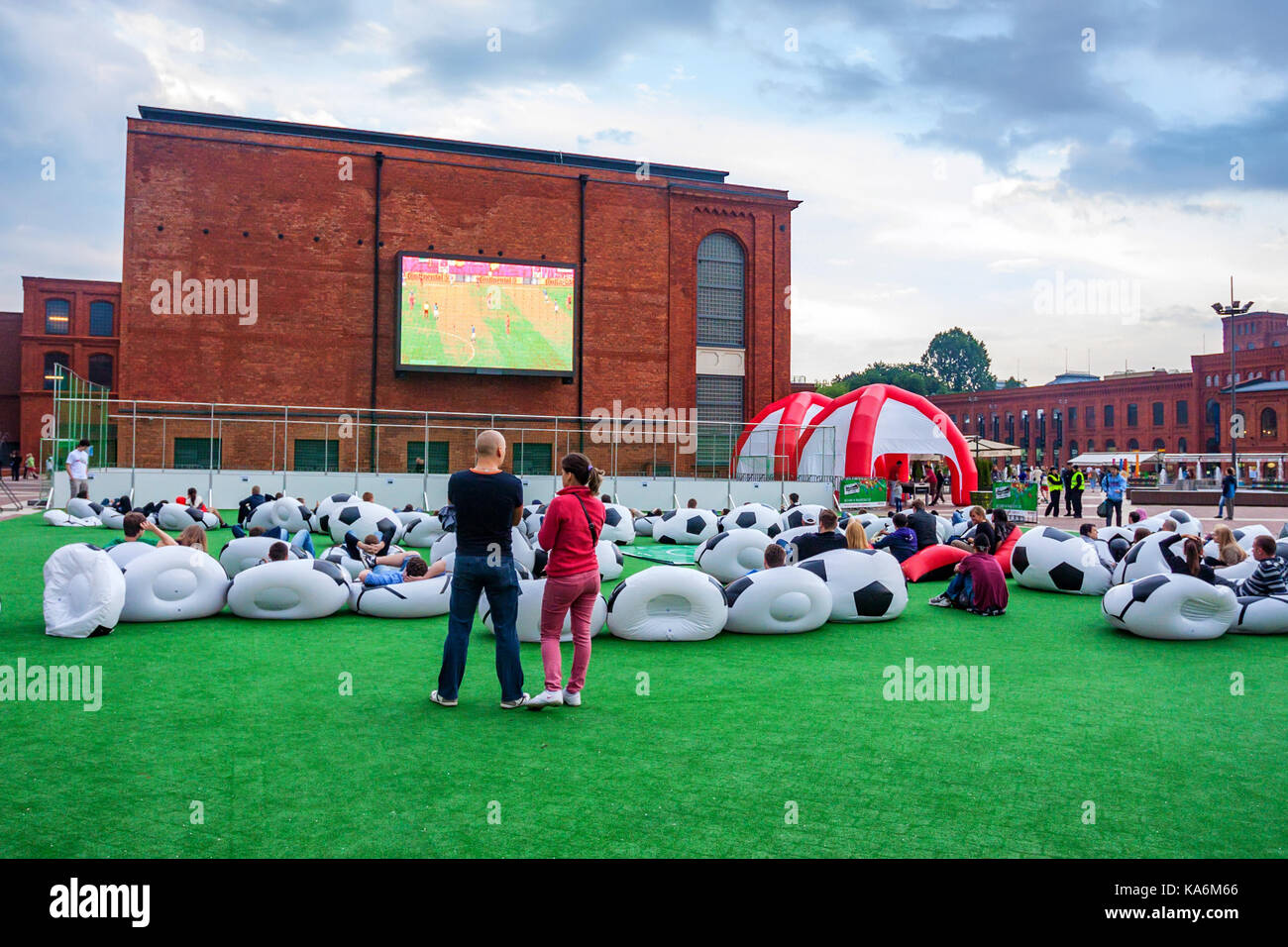 LODZ, POLAND - JUNE, 2012: Football fans - Stock Image