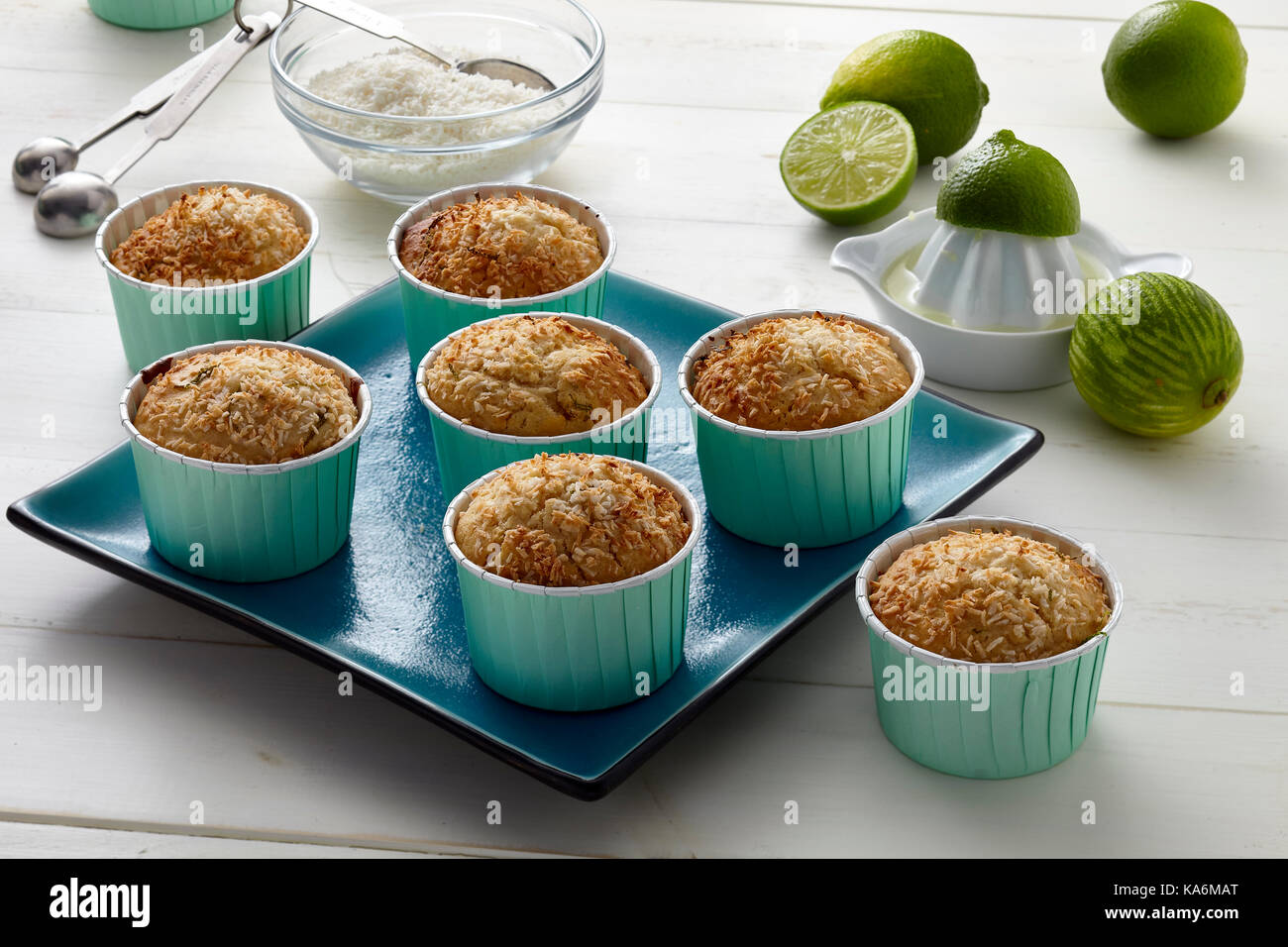 Tropical lime and coconut muffins - Stock Image