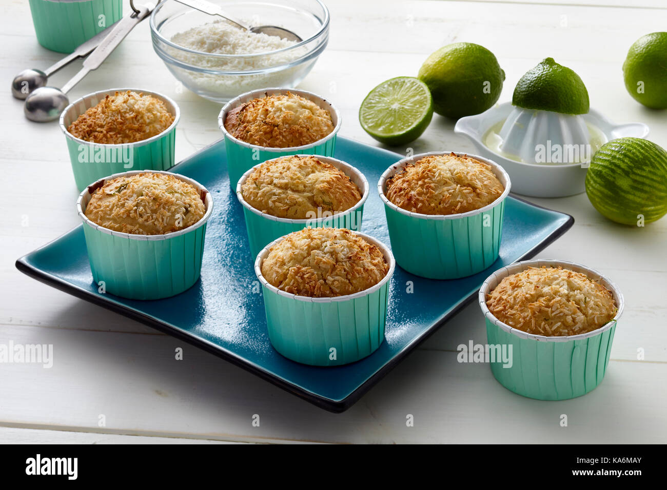 Tropical lime and coconut cookies - Stock Image