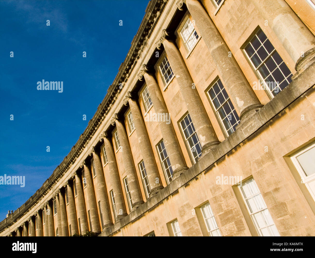 Section of the Georgian masterpiece The Royal Crescent in Bath,Somerset, England, UK. Stock Photo