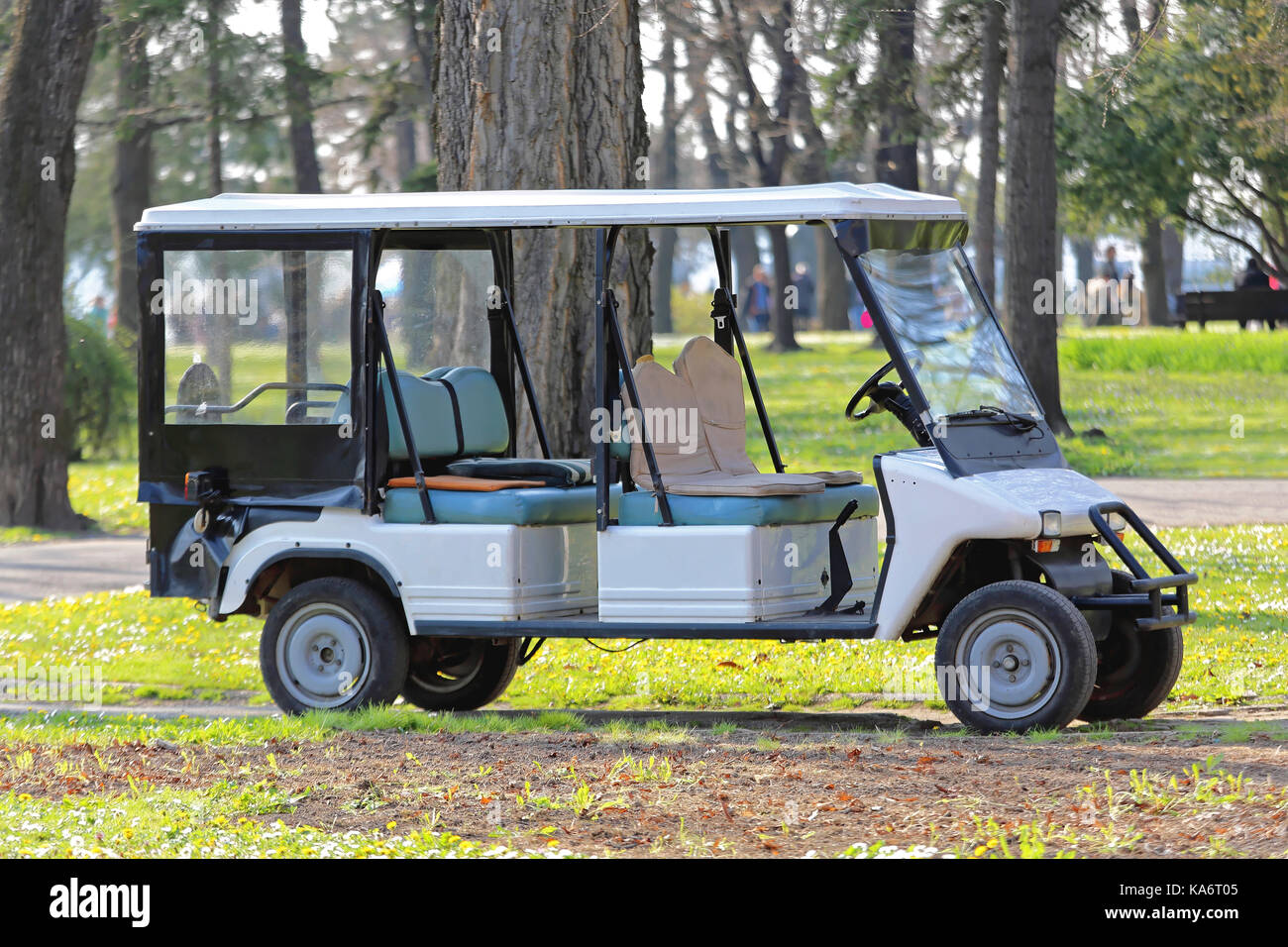 Big Electric Golf Cart in Park - Stock Image