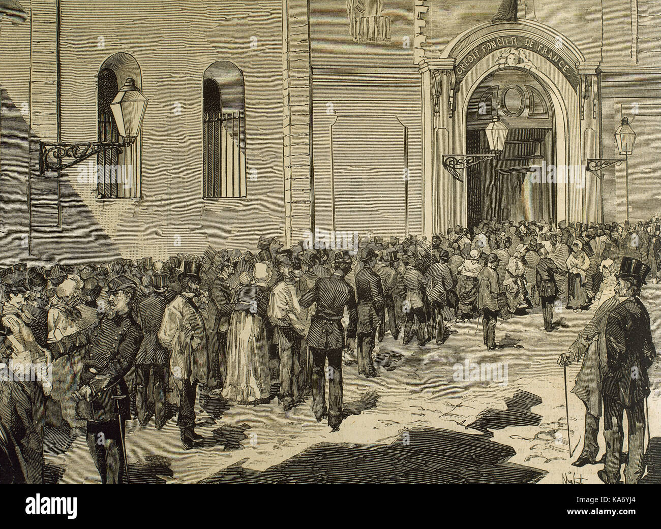 France. Paris. Credit Foncier de France. First day of subscription to the new issue of Treasury bonds. Men in the - Stock Image