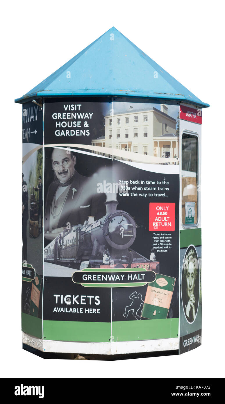 Ticket Kiosk, Dartmouth Devon, ad featuring Hercule Poirot and steam train trip to Agatha Christie's holiday - Stock Image