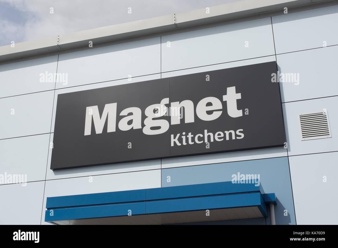 Magnet Kitchens store signage - Stock Image