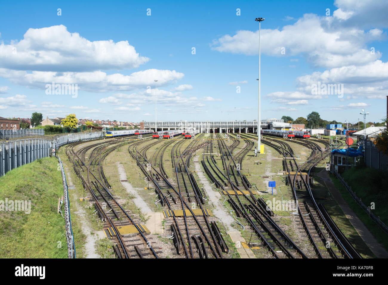 London underground trains outside Northfields Maintenance Depot, London, UK. - Stock Image
