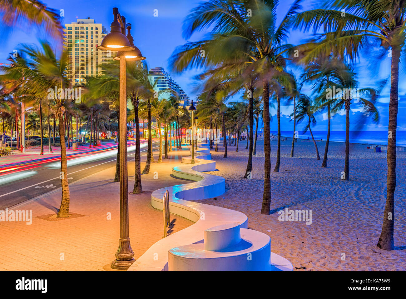Ft. Lauderdale, Florida, USA on the beach strip. - Stock Image