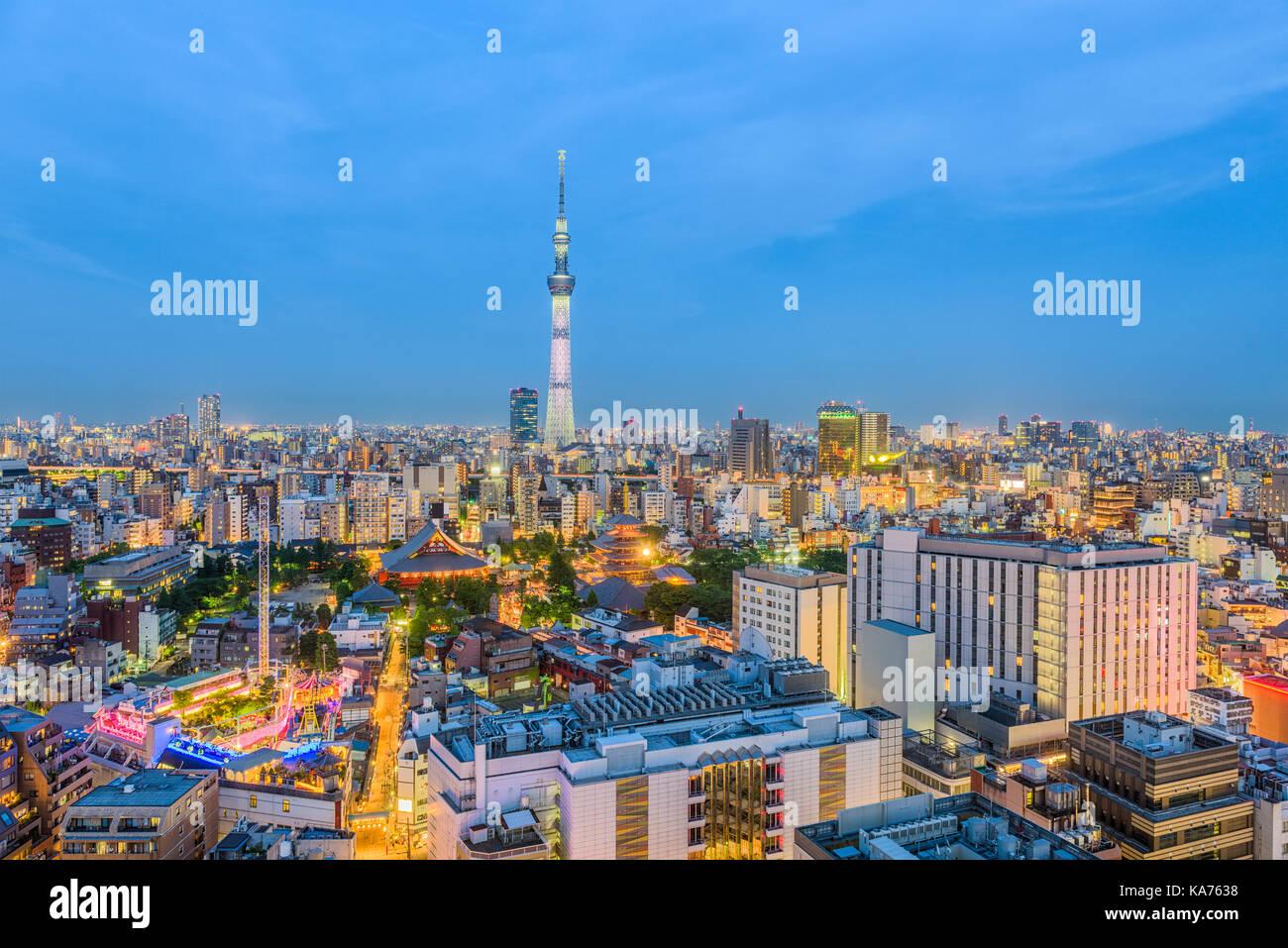 Tokyo, Japan skyline and tower. - Stock Image