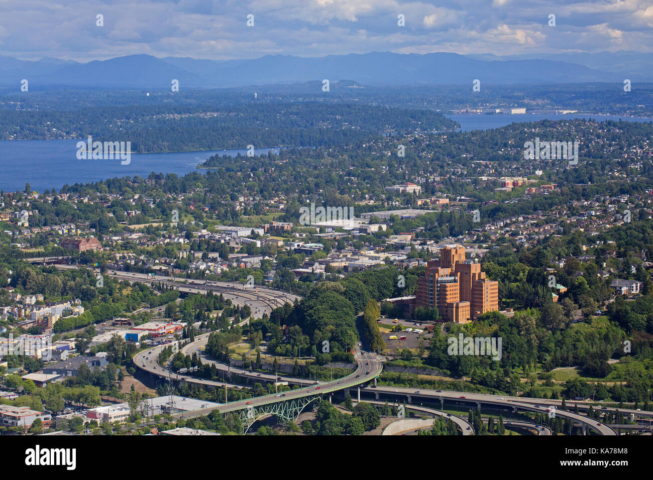 View of Interstate 5 Highway from the Columbia Centre, Seattle, Washington State - Stock Image