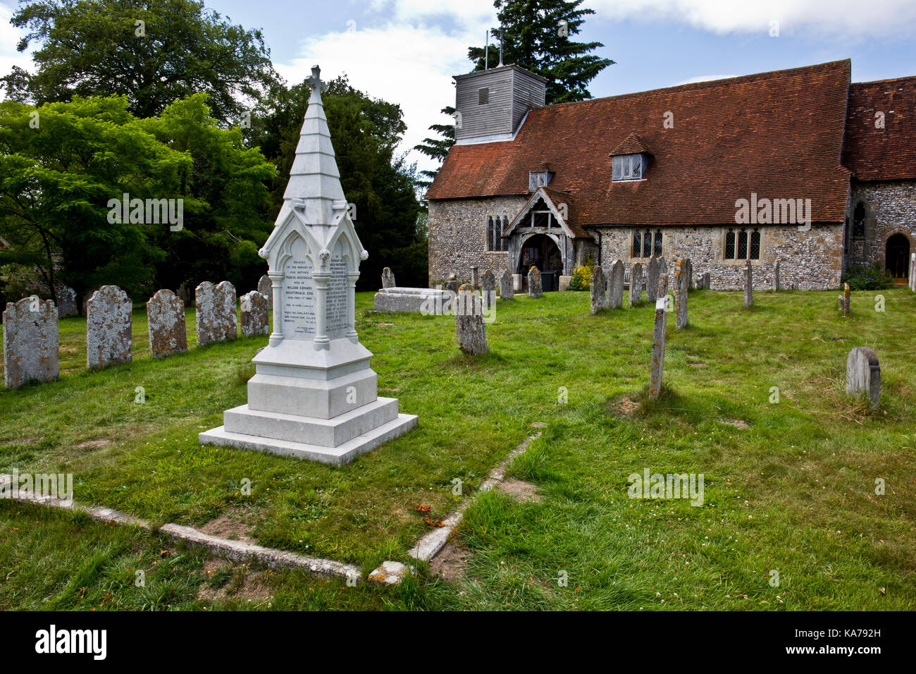 Florence Nightingale, gravestone, St Margaret's Church, East Wellow, Hampshire, England - Stock Image
