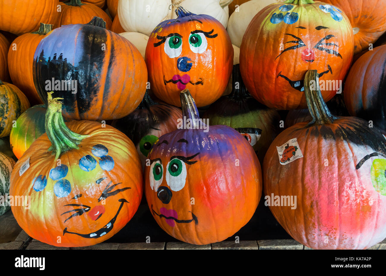 Painted Pumpkin Faces High Resolution Stock Photography And Images Alamy