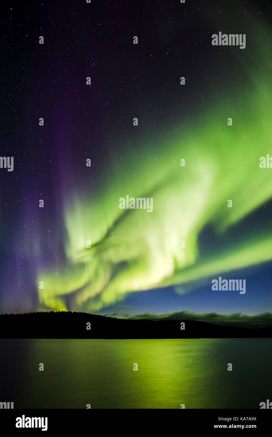 Northern Lights over Lake Luirojärvi - Stock Image
