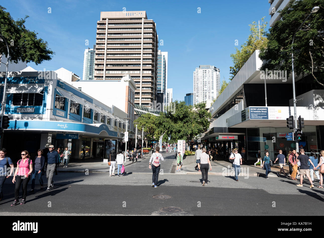 Pedestrian free Albert Street from Adelaide Street to Queen Street ( Main shopping streets) in Brisbane, Queensland, - Stock Image