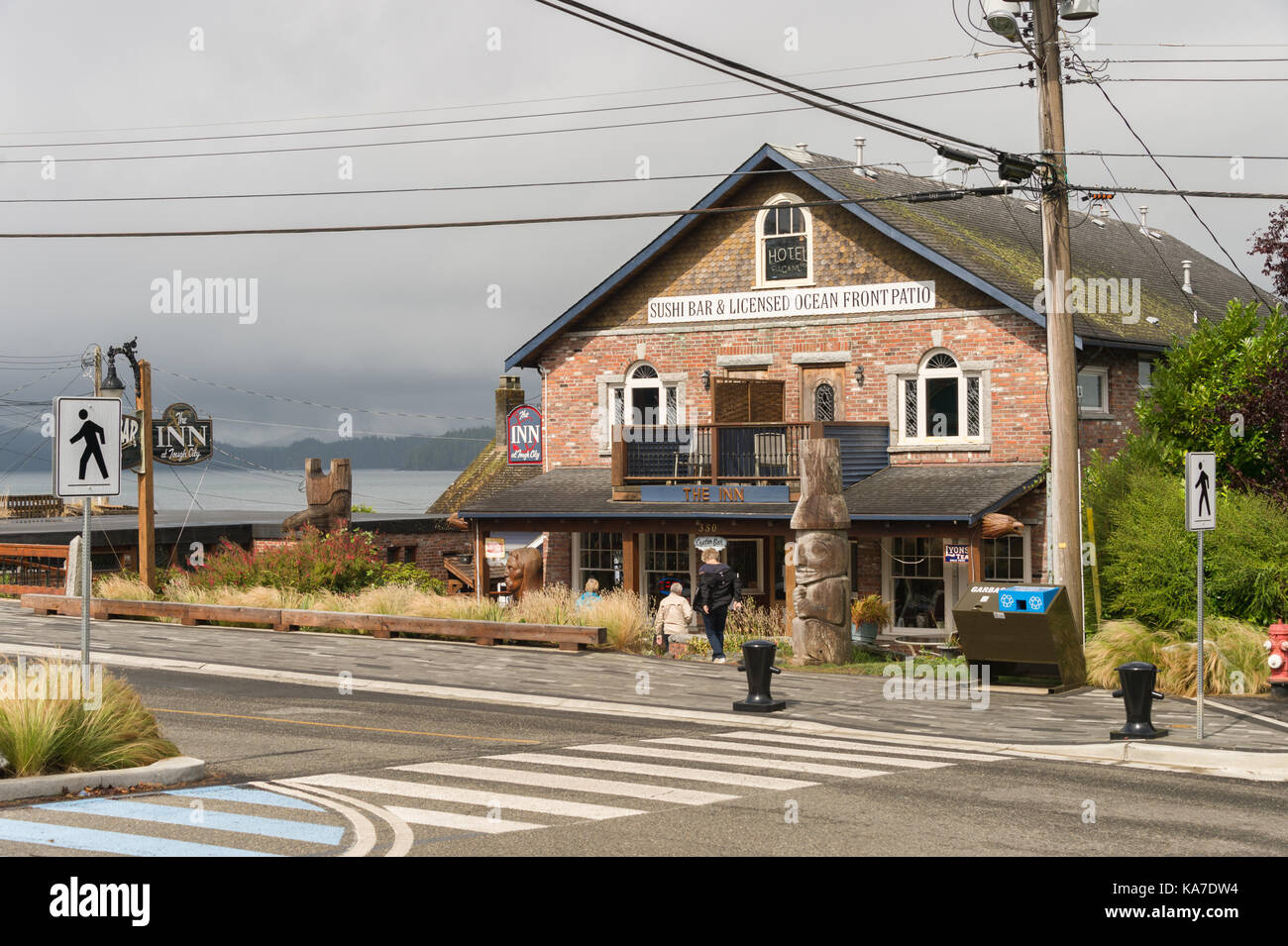Tofino, British Columbia, Canada - 9 September 2017: The Inn At Tough City is made up of recycled bricks from downtown - Stock Image