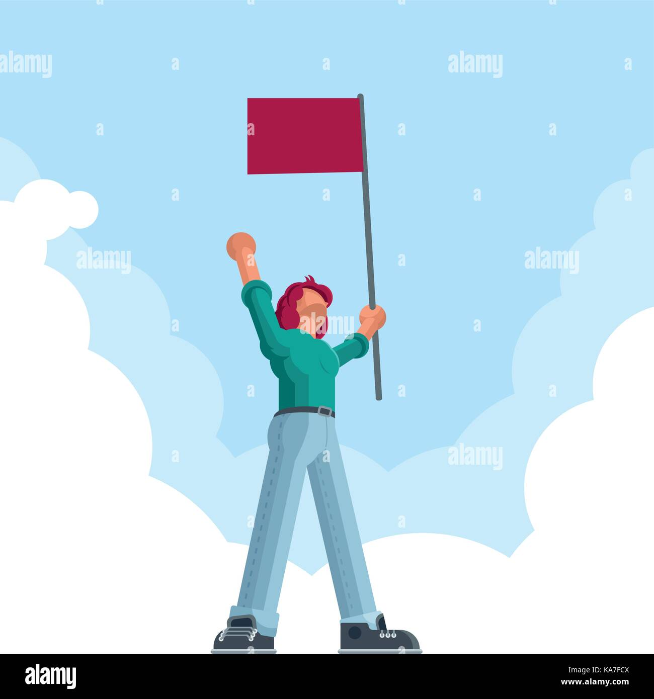 Successful man standing and holding a red flag and celebrating his victory. Vector concept illustration. - Stock Vector