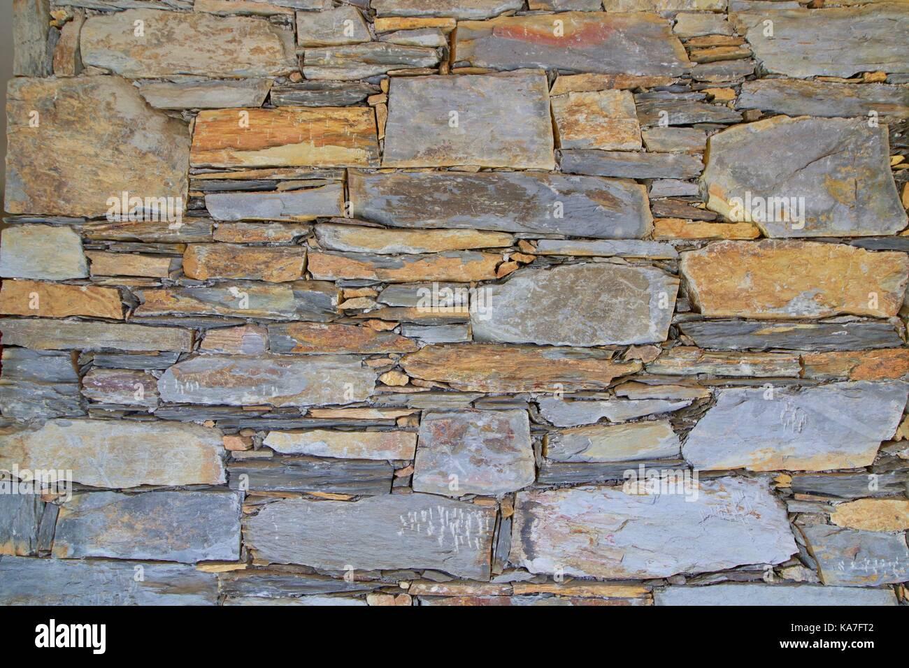 Textura de alvenaria de xisto, texture - Stock Image