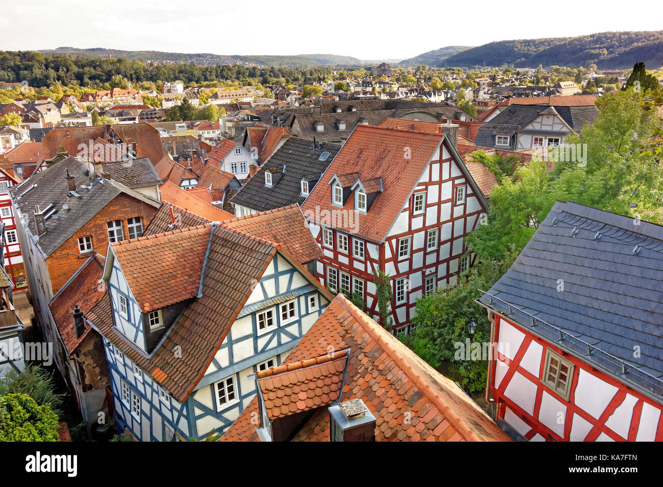 View over red roofs, half-timbered houses in the old town, Marburg an der Lahn, Hesse, Germany - Stock Image