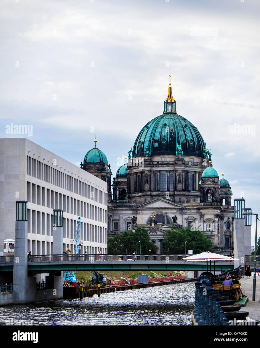 Berliner Dom, Berlin Cathedral ,historic old church building and modern city palace facade next to the river Spree, Stock Photo