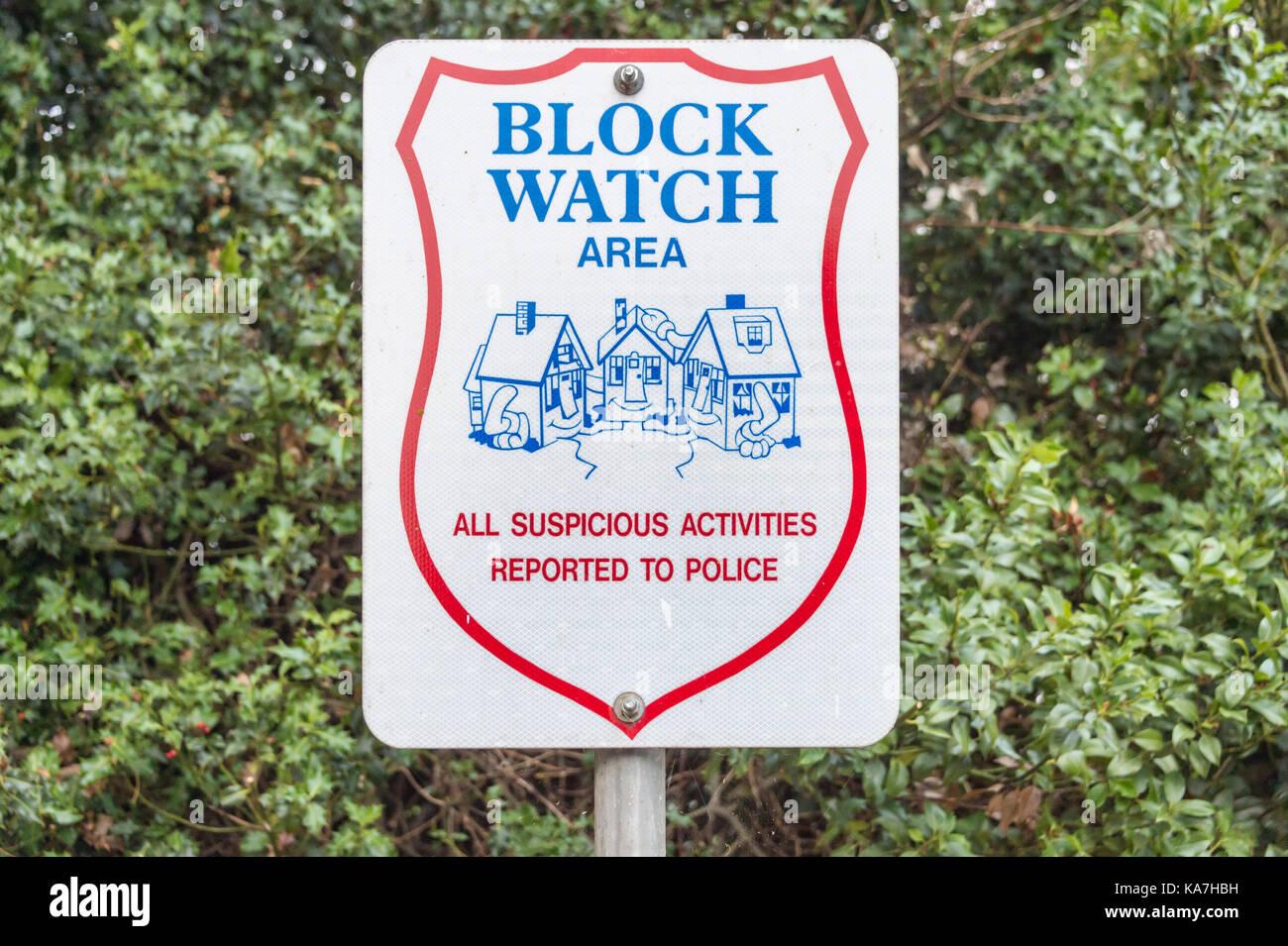 Victoria, British Columbia, Canada - 6 September 2017: Neighbourhood Watch Area sign - Stock Image