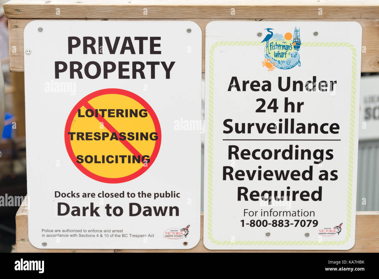 Victoria, British Columbia, Canada - 6 September 2017: Private Property and Neighbourhood Watch Area signs - Stock Image