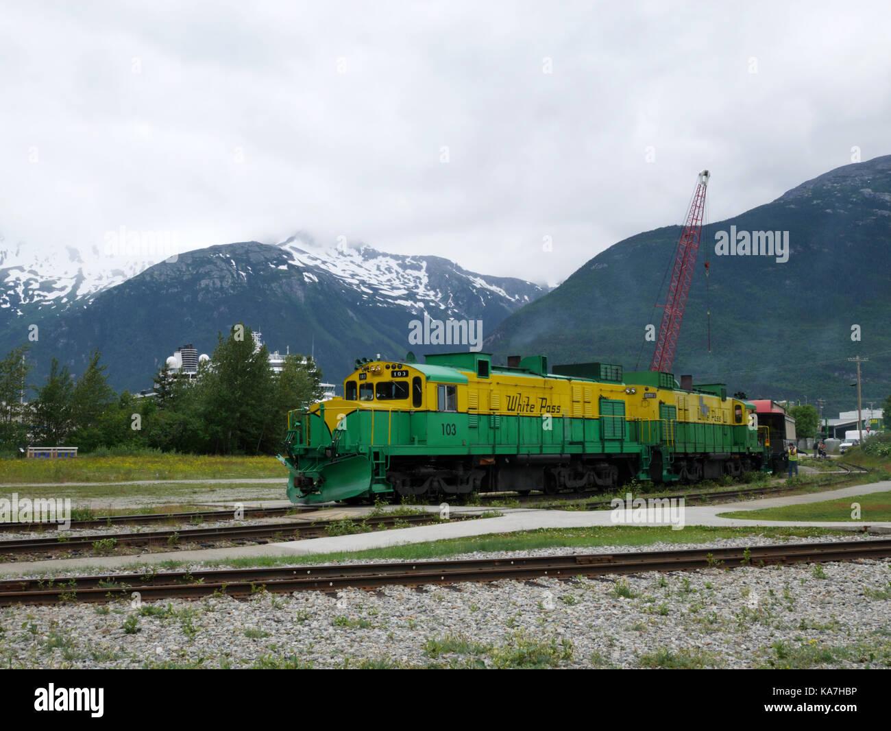 alco diesel locomotive 103 at the skagway terminus of the white pass &  yukon railroad,