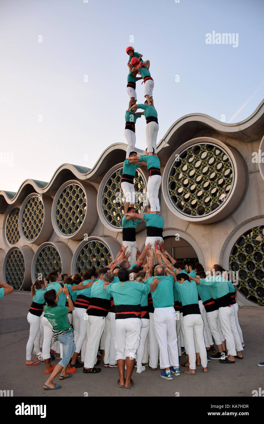 Catalonia, Spain Sep 2017. Castellers of Vilafranca del Penedes practising their human towers - Stock Image