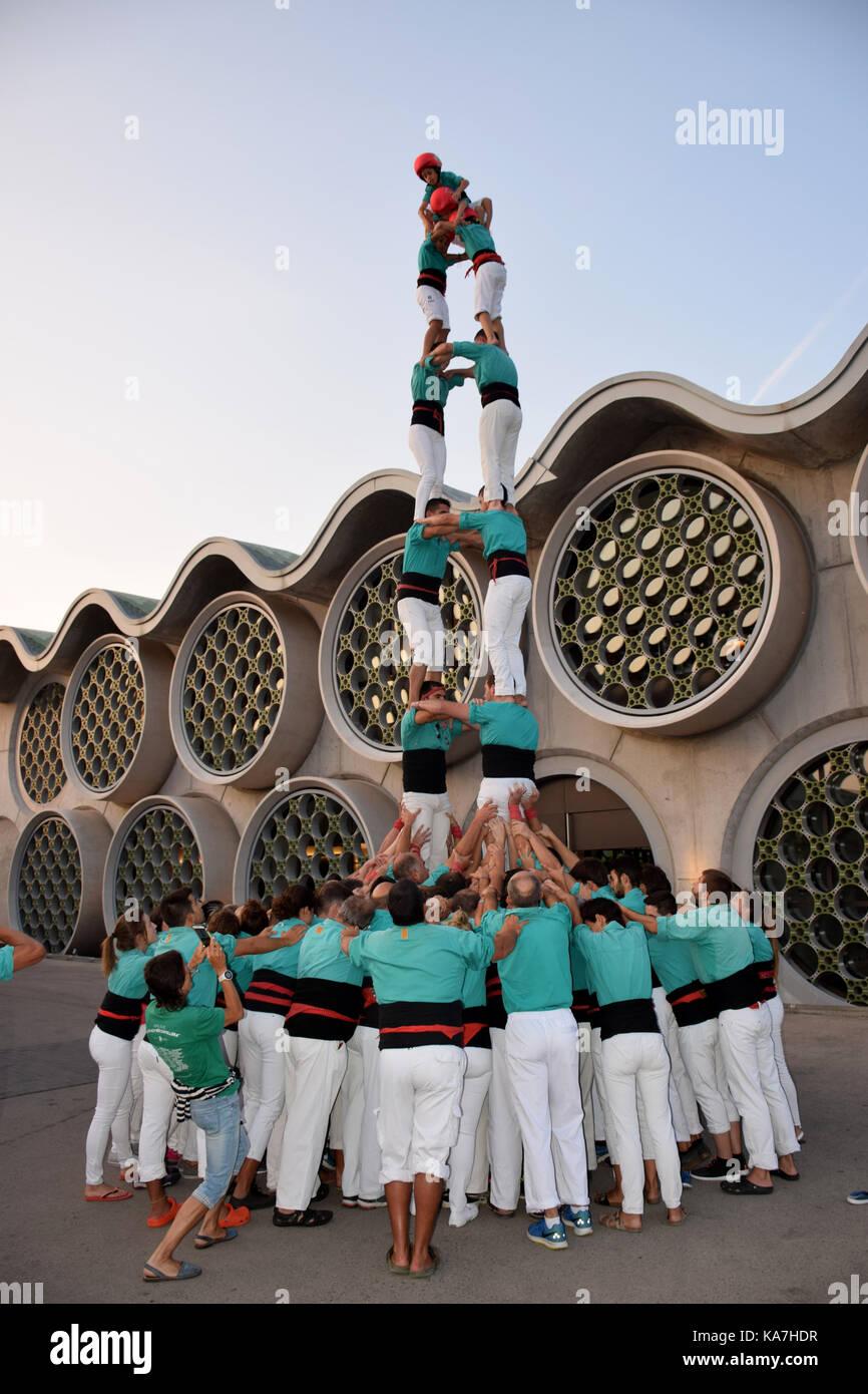 Catalonia, Spain Sep 2017. Castellers of Vilafranca del Penedes practising their human towers Stock Photo