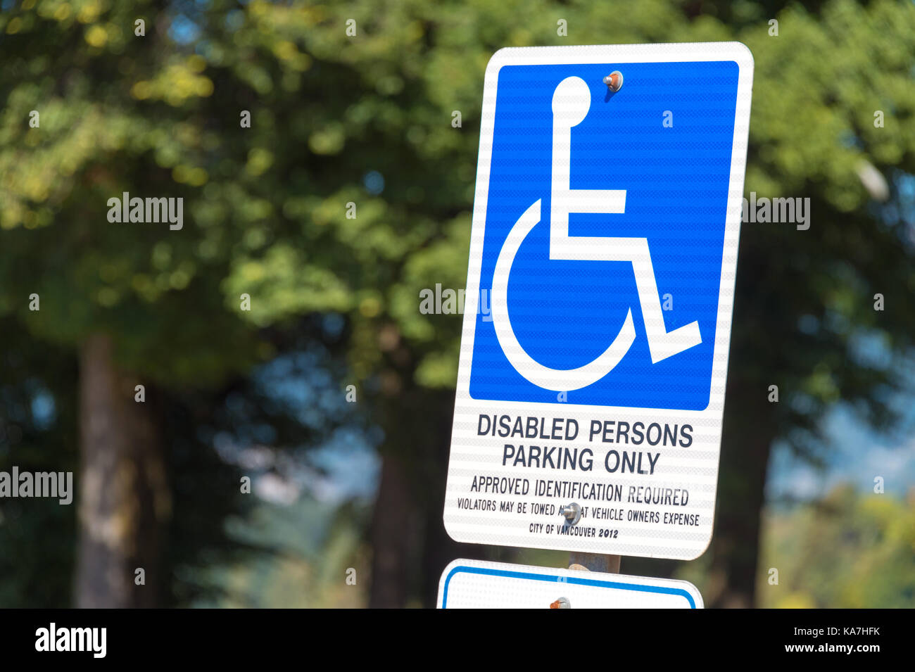 Vancouver, British Columbia, Canada - 14 September 2017 - Disabled parking only sign - Stock Image