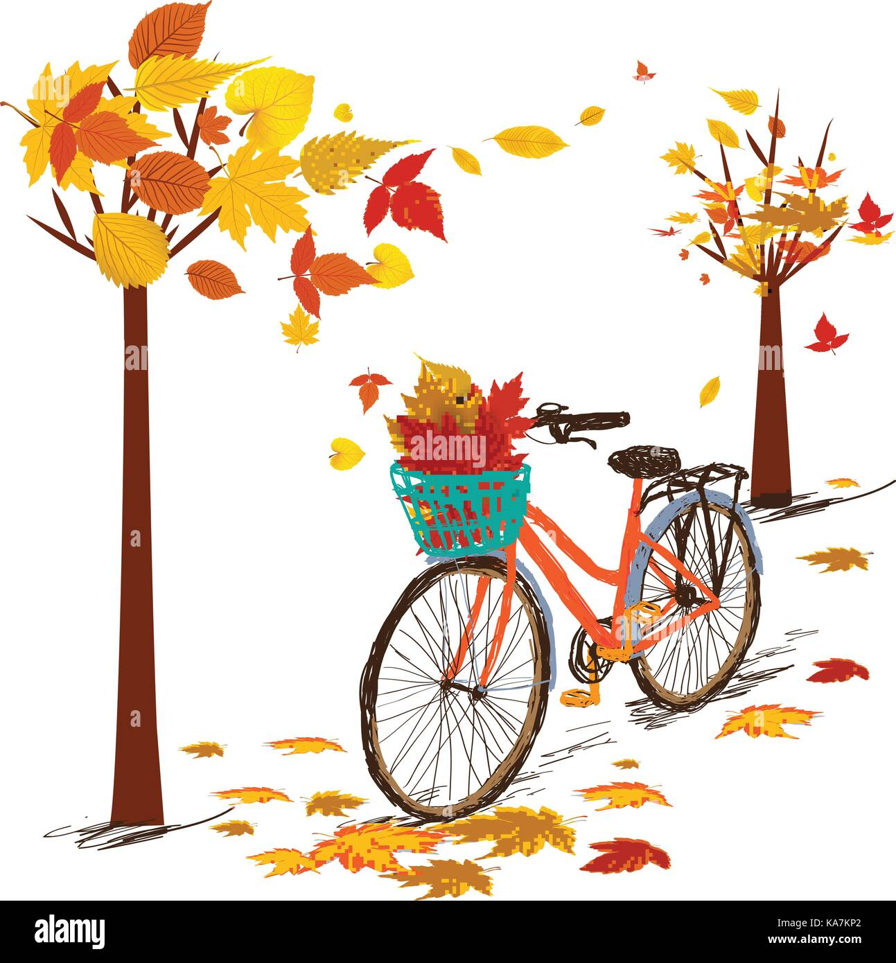 Hello autumn. Hand drawn tintage bicycle with autumn leaves in rear basket - Stock Vector