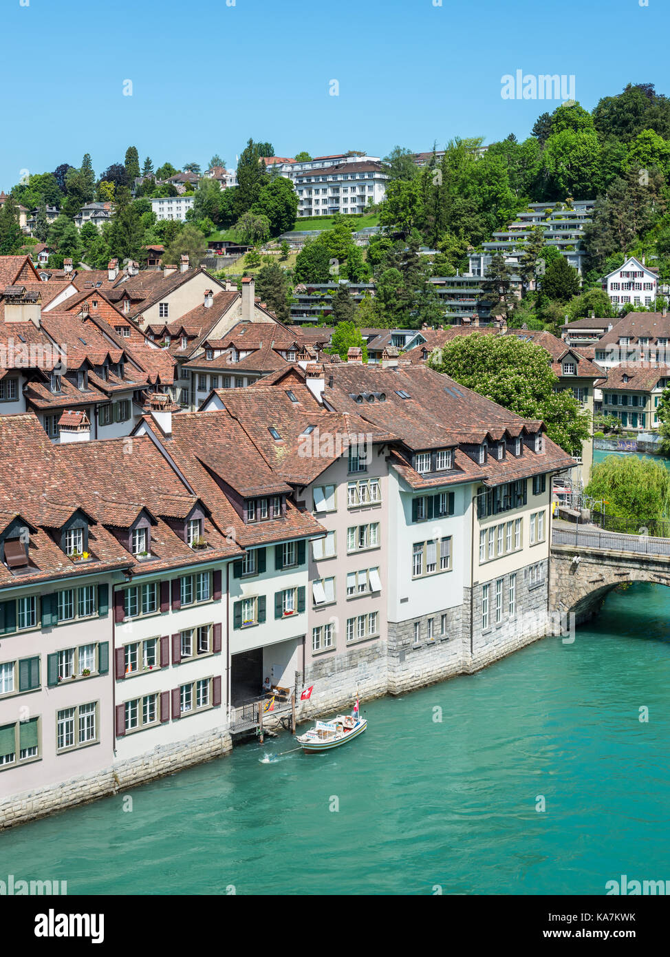 Bern, Switzerland - May 26, 2016: Architecture of the old European town, coastal landscape in Bern (Unesco Heritage), Stock Photo