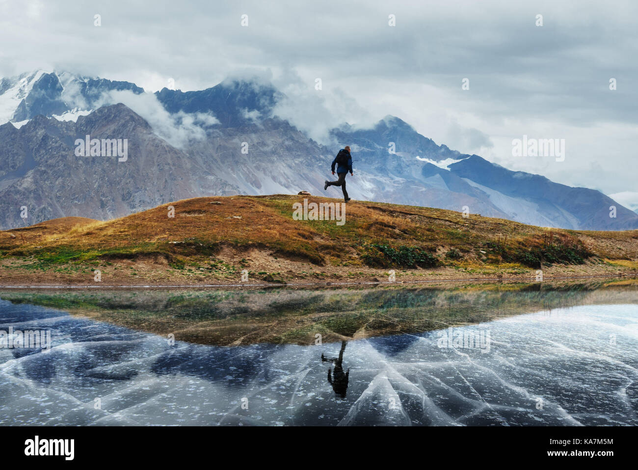 Landscape on mountain frozen lake Koruldi. Upper Svaneti, Georgia, Europe. Caucasus - Stock Image