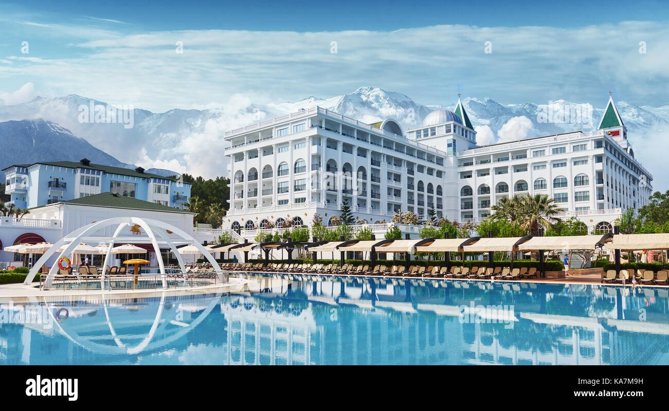 TEKIROVA TURKEY - APRIL 25 2017: Swimming pool and beach of luxury hotel. Type entertainment complex. Amara Dolce - Stock Image
