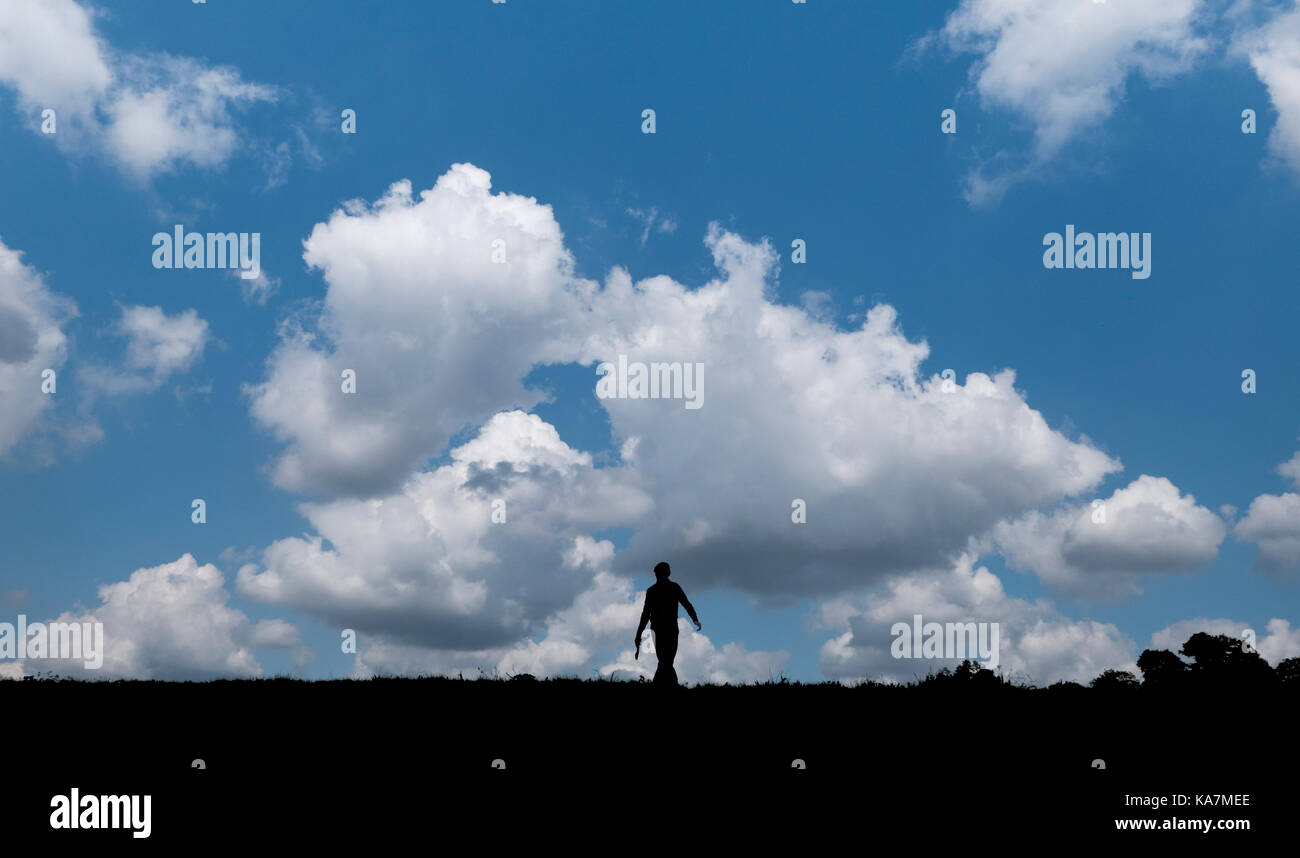 Silhouette of a walker on Hampstead Heath - Stock Image