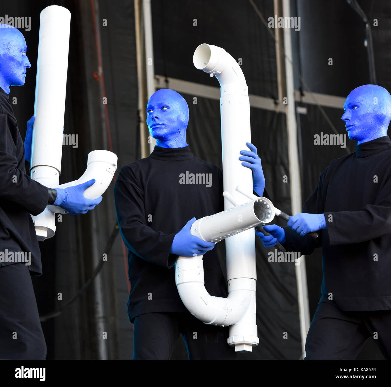 Las Vegas, Nevada - September 24, 2017 - Blue Man Group performing on stage at the Life is Beautiful festival day - Stock Image