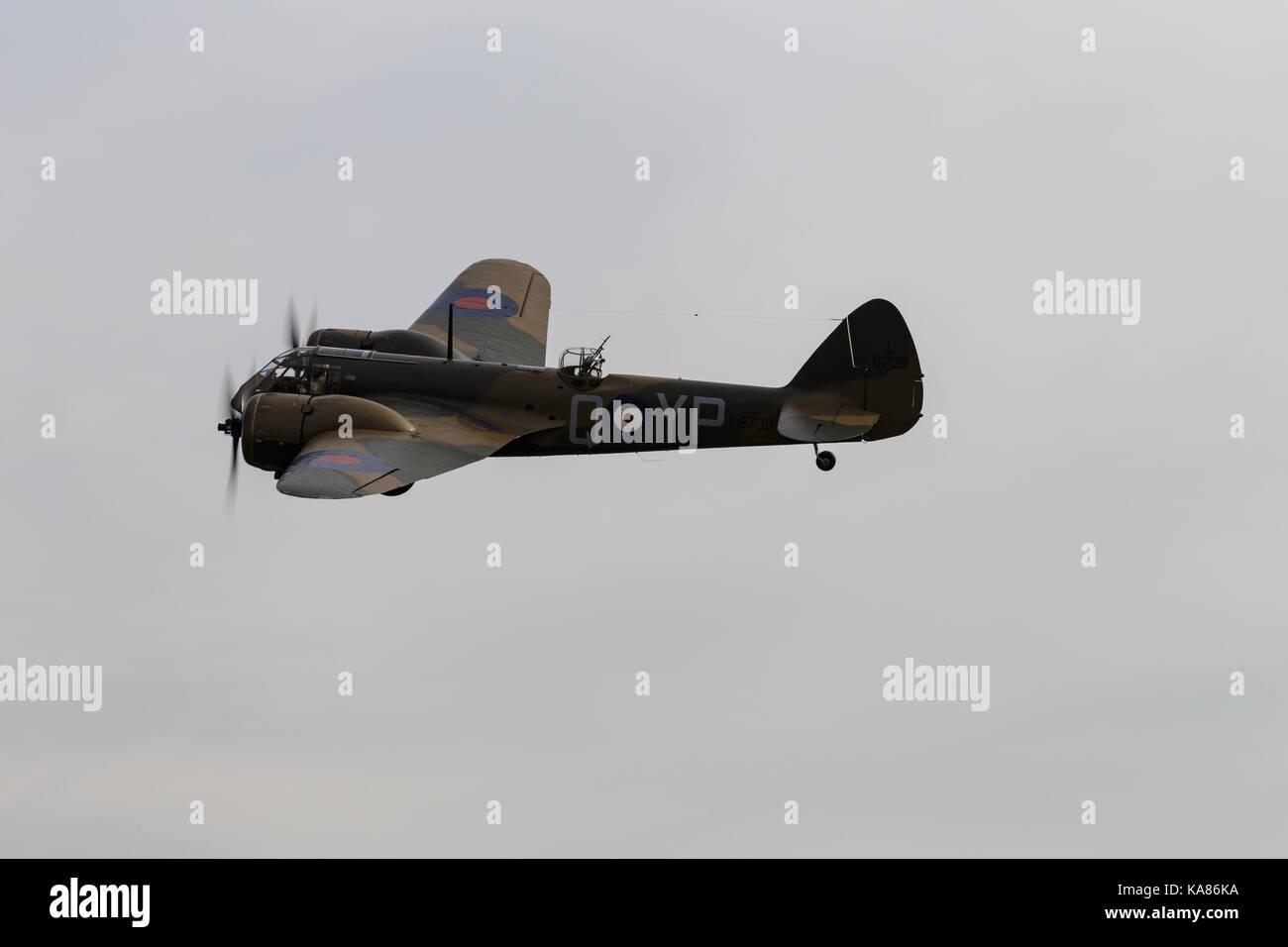 Duxford, UK. 24th Sep, 2017. A Bristol Blenheim MK1 in flight at the Duxford Battle of Britain Air Show in Duxford, Stock Photo
